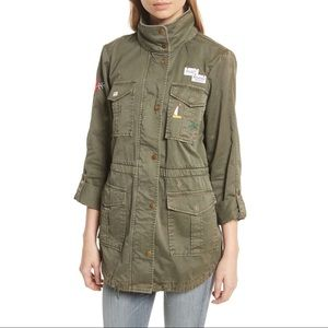 Joie Army Green Jacket w Medallions & Patch L NWT